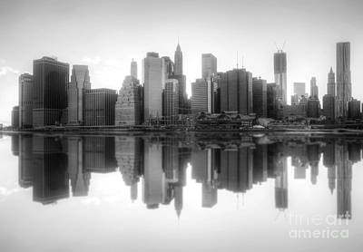 Photograph - New York Skyline Sunset Bw by Yhun Suarez