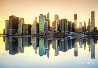 Photograph - New York Skyline Sunset by Yhun Suarez