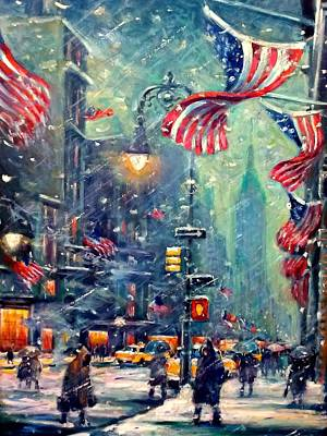 Painting - New York Snowy Night by Philip Corley