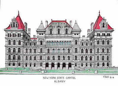 Drawing - New York State Capitol by Frederic Kohli