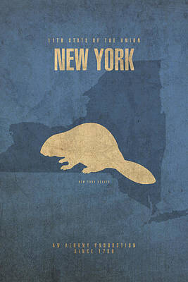 Mixed Media - New York State Facts Minimalist Movie Poster Art  by Design Turnpike