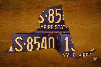 City Scenes Mixed Media - New York State License Plate Map - Empire State Orange Edition by Design Turnpike