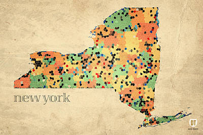 New York State Map Crystalized Counties On Worn Canvas By Design Turnpike Art Print