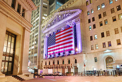 Photograph - New York Stock Exchange At Night by Songquan Deng