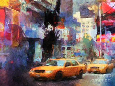 Traffic Digital Art - New York Street by Lutz Baar