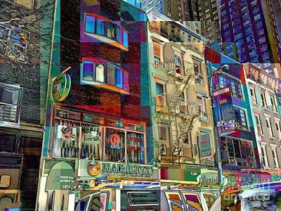Thomas Kinkade - New York Street Scene - Little Shops All in a Row by Miriam Danar