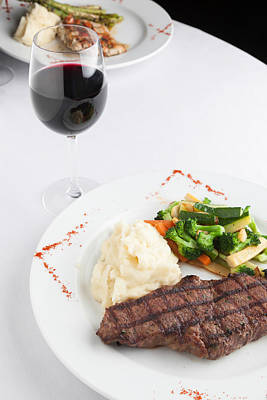 New York Strip Steak With Mashed Potatoes And Mixed Vegetables Art Print