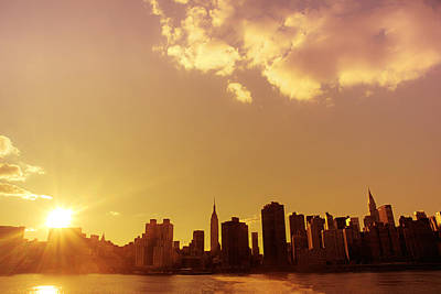 New York City Skyline Photograph - New York Sunset Skyline by Vivienne Gucwa