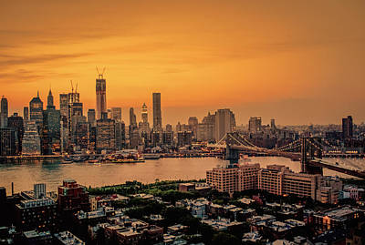 City Sunset Photograph - New York Sunset - Skylines Of Manhattan And Brooklyn by Vivienne Gucwa