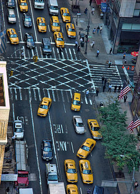 Photograph - New York Taxi Rush Hour by New York