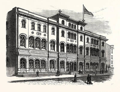 Archives Drawing - New York The Astor Library by American School
