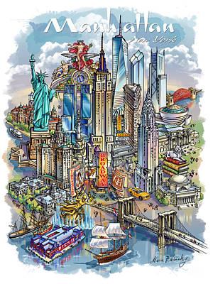 Brooklyn Bridge Drawing - New York Theme 1 by Maria Rabinky