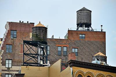 Landscape Photograph - New York Three Water Towers by Steven Richman