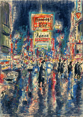 Painting - New York Times Square - Watercolor by Art America Gallery Peter Potter