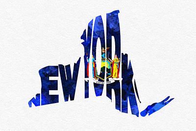 Digital Art - New York Typographic Map Flag by Ayse Deniz