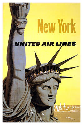 Airlines Mixed Media - New York United Airlines by David Wagner