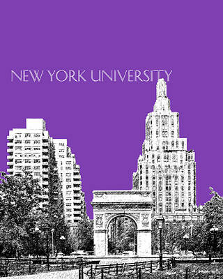 Dorm Room Decor Digital Art - New York University - Washington Square Park - Purple by DB Artist