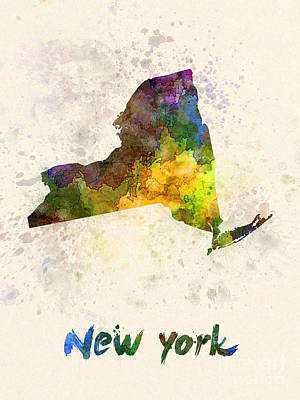 Cartography Painting - New York Us State In Watercolor by Pablo Romero