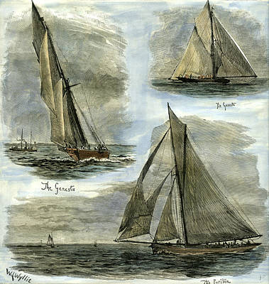 New York U.s.a. 1885 Yachts Competing At New York Print by American School