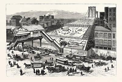 City Hall Drawing - New York View Of The East River Bridge And The Approaches by American School