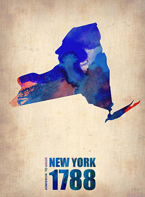 Map Of New York Digital Art - New York Watercolor Map by Naxart Studio