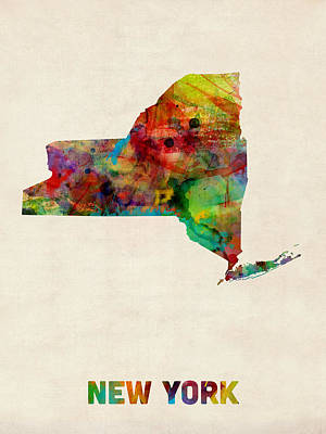 New York Watercolor Map Art Print by Michael Tompsett
