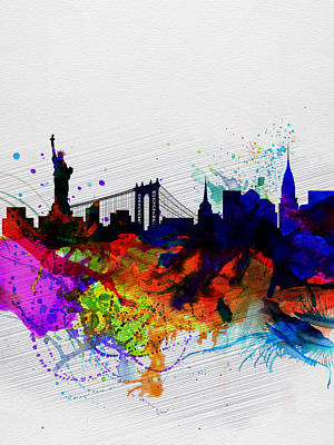 Scenic Painting - New York  Watercolor Skyline 1 by Naxart Studio