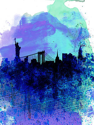 Architectural Painting - New York  Watercolor Skyline 2 by Naxart Studio