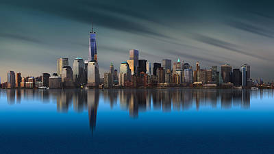 Blue Buildings Photograph - New York World Trade Center 1 by Yi Liang
