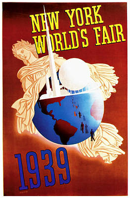 Ruins Mixed Media - New York Worlds Fair 1939 Vintage Travel Art  by Presented By American Classic Art