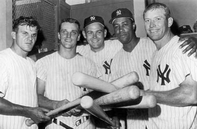 Baseball Players Photograph - New York Yankee Sluggers by Underwood Archives