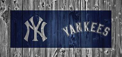 Yankee Stadium Mixed Media - New York Yankees Barn Door by Dan Sproul