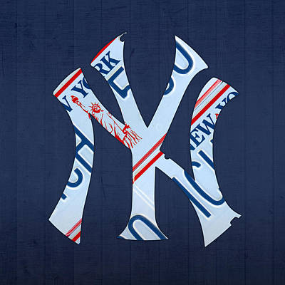 Ny Yankees Mixed Media - New York Yankees Baseball Team Vintage Logo Recycled Ny License Plate Art by Design Turnpike