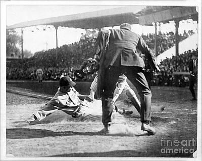 Photograph - New York Yankees Washington Senators Slide Home Plate by R Muirhead Art