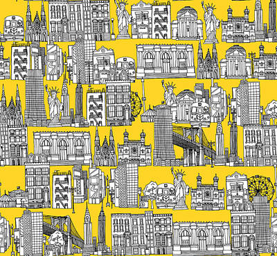 Statue Of Liberty Drawing - New York Yellow by Sharon Turner
