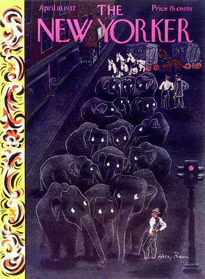 Wildlife Painting - New Yorker April 10 1937 by Harry Brown