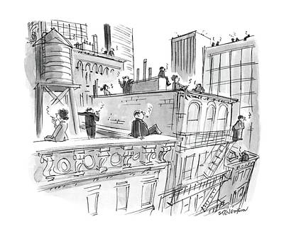 Rooftops Drawing - New Yorker April 11th, 1988 by James Stevenson