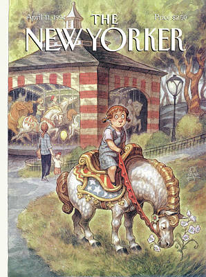 Flower Child Painting - New Yorker April 11th, 1994 by Peter de Seve