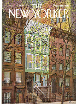 Brownstones Painting - New Yorker April 12th, 1969 by Charles E. Martin