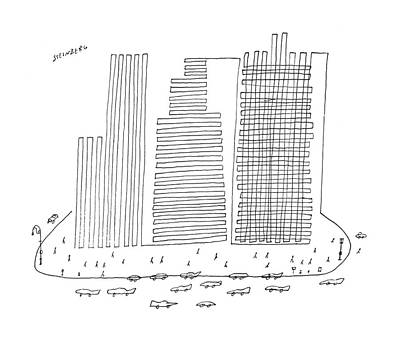 Skyscrapers Drawing - New Yorker April 13th, 1957 by Saul Steinberg