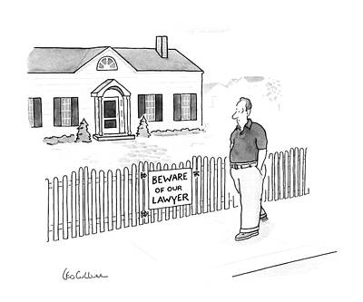 Fence Drawing - New Yorker April 13th, 1987 by Leo Cullum
