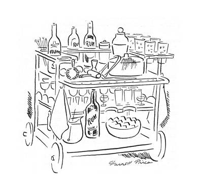 Cocktails Drawing - New Yorker April 15th, 1944 by Garrett Price