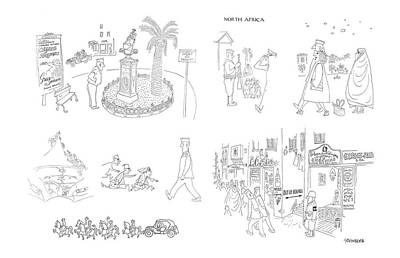 North Drawing - New Yorker April 15th, 1944 by Saul Steinberg