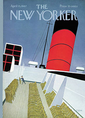 Deck Chair Painting - New Yorker April 15th, 1967 by Charles E Martin