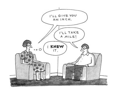 Wife Drawing - New Yorker April 15th, 1991 by Mick Stevens