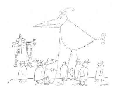 New Yorker April 16th, 1955 Art Print by Saul Steinberg