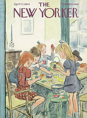 Kids Painting - New Yorker April 17th, 1954 by Perry Barlow