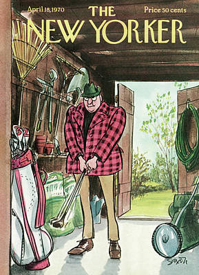 Golf Painting - New Yorker April 18th, 1970 by Charles Saxon