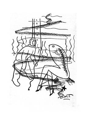 Fish Underwater Drawing - New Yorker April 19th, 1941 by W.P. Trent, Jr.