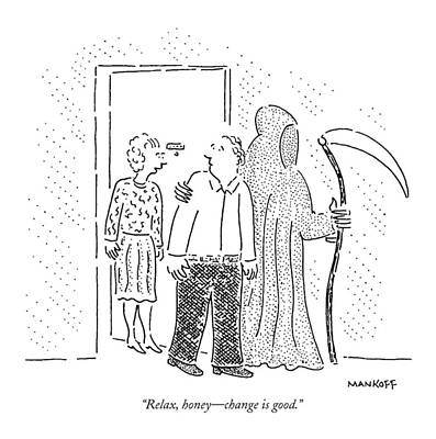 Grim Drawing - New Yorker April 19th, 1993 by Robert Mankoff